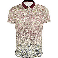 Cream abstract print polo shirt