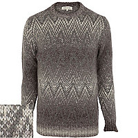 Grey geometric ombre jumper