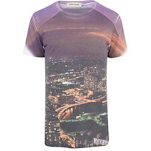Purple city sublimation print t-shirt