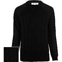 Black jersey sleeve cable knit jumper