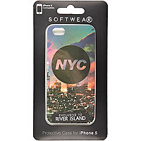 Black NYC print iPhone 5 case