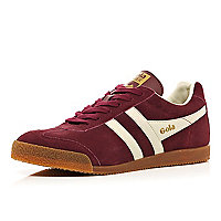 Dark red two-tone Gola low trainers