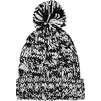 Black and white chunky twist knit beanie hat