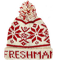 Red freshman fair isle beanie hat