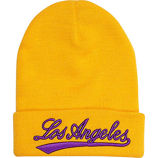 Yellow Los Angeles beanie hat