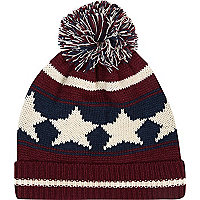 Red stars and stripes beanie hat
