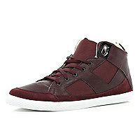 Dark red contrast lace high tops