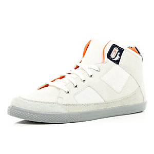 White contrast lace high tops