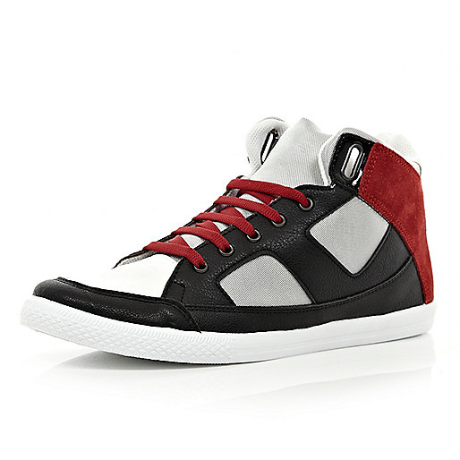 Black colour block high tops