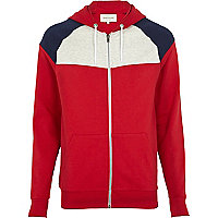 Red contrast colour block yoke hoodie