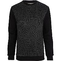Black paisley print block sweatshirt