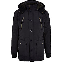 Navy padded parka jacket
