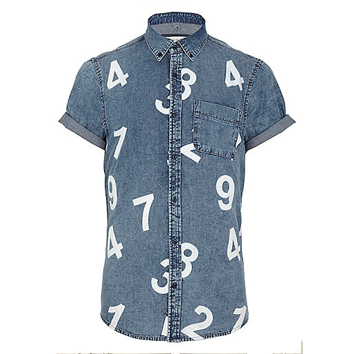 Light acid wash number print denim shirt