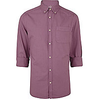 Light purple roll sleeve Oxford shirt