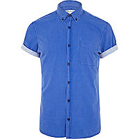 Blue washed short roll sleeve shirt