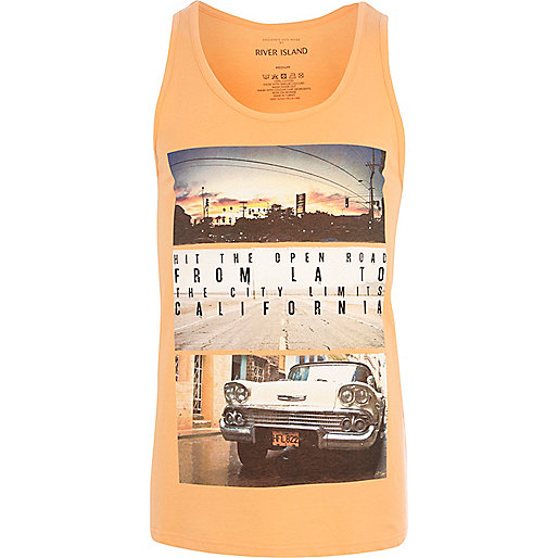 Orange Hit the Road print vest