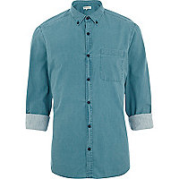 Teal washed roll sleeve shirt
