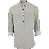 Grey washed roll sleeve shirt