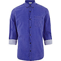 Royal blue washed roll sleeve shirt