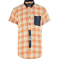 Orange check Holloway Road denim pocket shirt