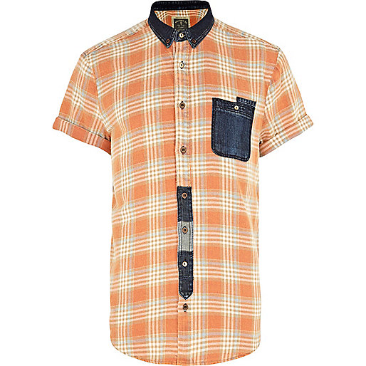 Orange check Holloway Road denim pocket shirt