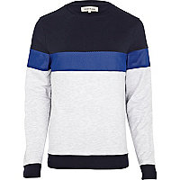 Navy mesh panel sweatshirt