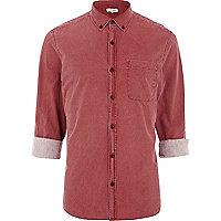 Dark pink washed roll sleeve shirt