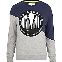 Navy LA sliced sweatshirt