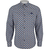 Blue foulard print long sleeve shirt