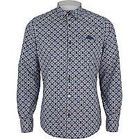 Blue foulard print long sleeve shirt