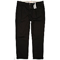 Black pleat waist carrot trousers