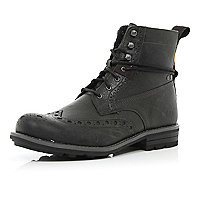 Black Cat brogue worker boots