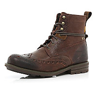 Dark brown Cat brogue worker boots