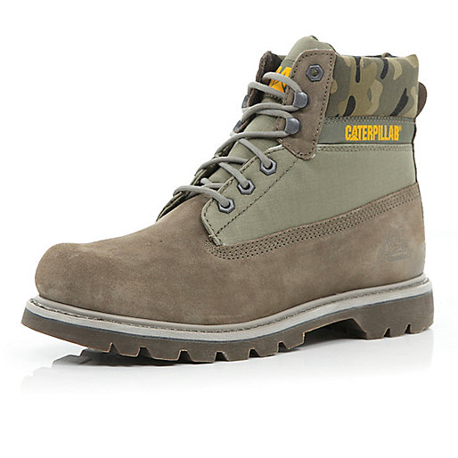 Grey Cat camo trim worker boots