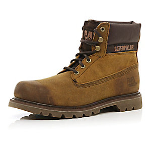 Brown leather Cat worker boots