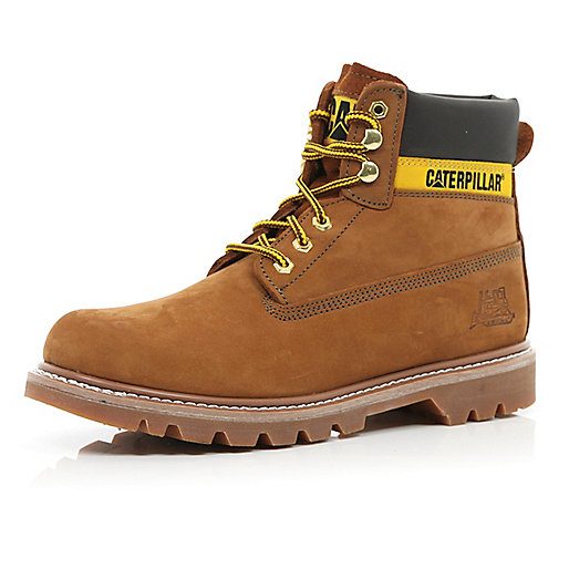Tan Cat worker boots
