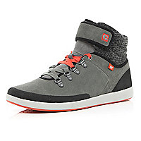 Grey Cat contrast panel high tops