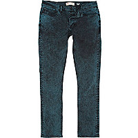 Green acid wash Sid skinny stretch jeans
