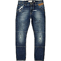 Mid wash Chester tapered jeans