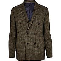 Green check wool-blend slim suit jacket