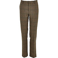 Green wool-blend check slim suit trousers