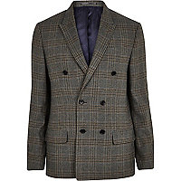 Blue check slim double breasted suit jacket