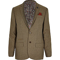 Beige tweed skinny suit jacket