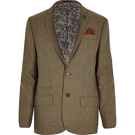 Beige tweed skinny suit jacket