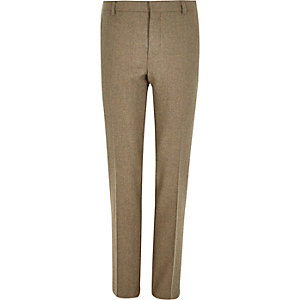 Beige tweed skinny suit trousers