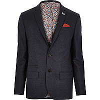 Dark blue tweed skinny suit jacket