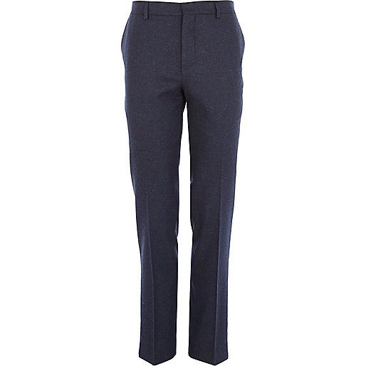 Dark blue tweed skinny suit trousers