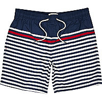 Blue breton stripe mid length swim shorts