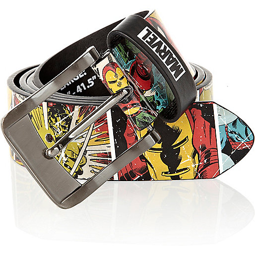 Red Marvel comic print belt