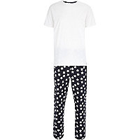 Navy star print t-shirt pyjamas